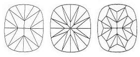 Cushion Cut Diamond - Three Pavilion Patterns