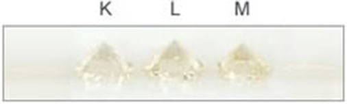 Actual Diamond Color Scale K-M